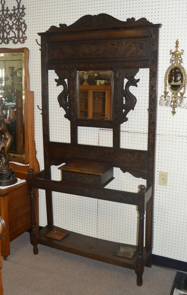 Antique English Carved Oak Hall Tree Umbrella Stand Coat