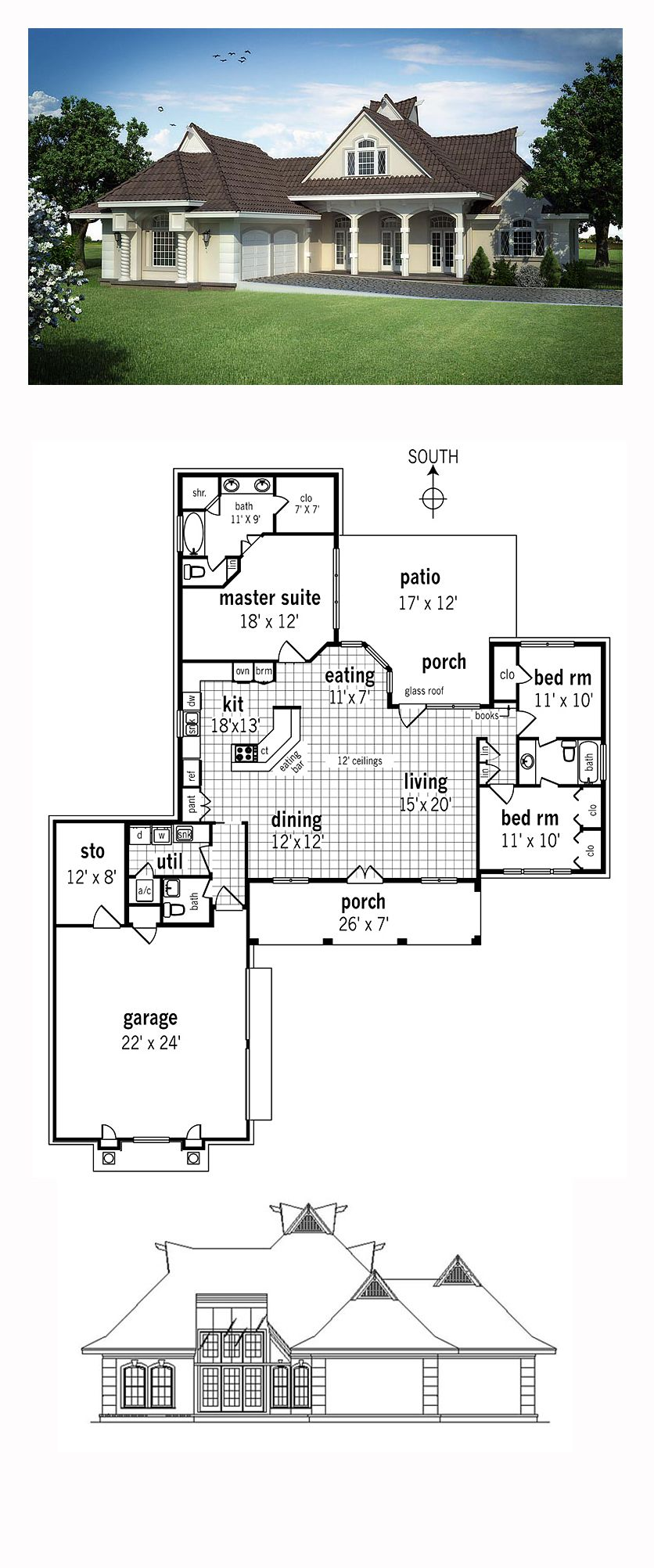 French Country Style House Plan 76911 With 3 Bed 3 Bath 2 Car Garage Country Style House Plans French Country House Plans New House Plans