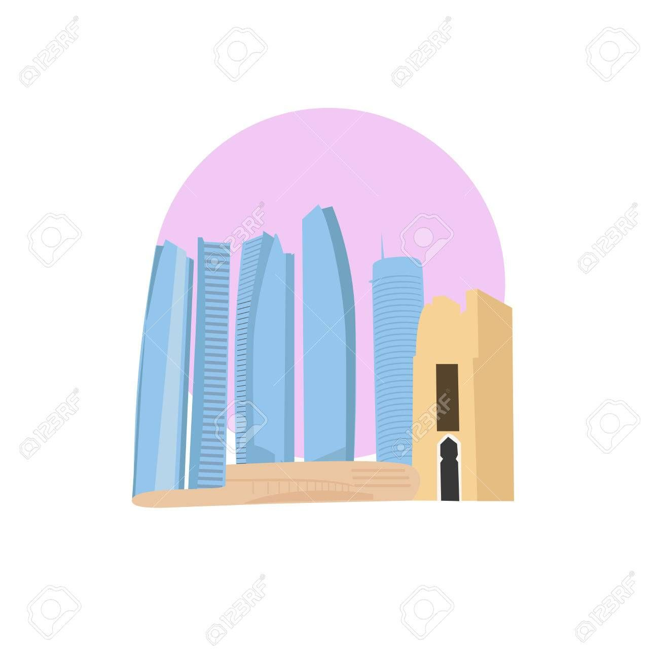 Abu Dhabi vector icon sign United arab emirates capital monument World famous landmark UAE emerate symbol Vector flat style design Website application button Postcard Pos...