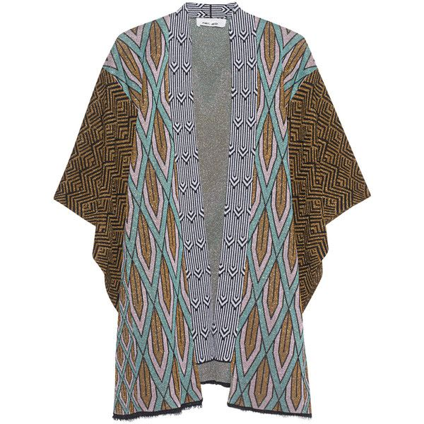 Circus Hotel Kimono Short Gold // Fine knit cardigan with fancy ...