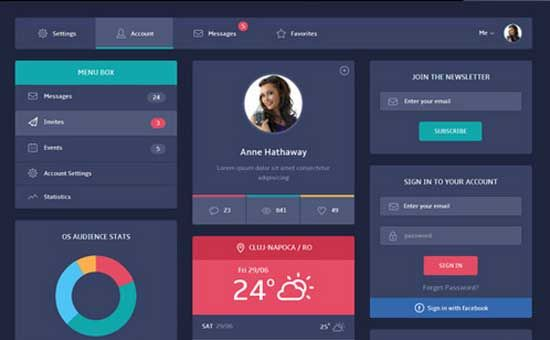 free html5 css3 templates Flat Design UI originally from w3 designs ...