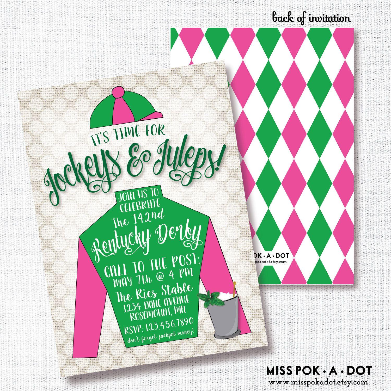 Jockey Derby Party Invitation, Printable, Horse Racing Party ...