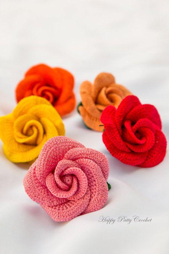 Crochet Applique Pattern - Vieng Ping Rose - Crochet Rose Pattern ...