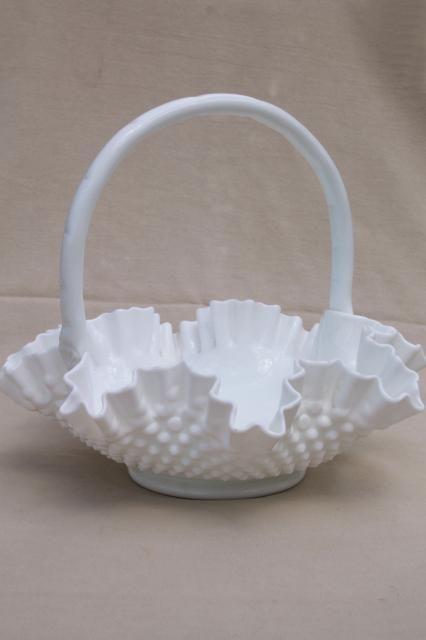Large Glass Basket Fenton Hobnail Milk Glass Vintage Brides Basket Milk Glass Glass Dishes Hobnail Milk Glass