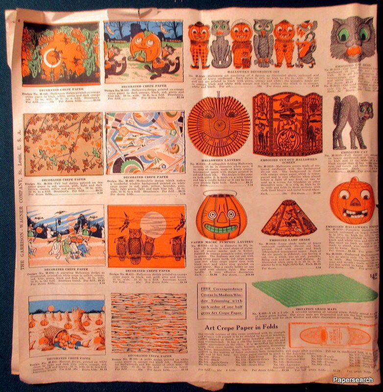 c1920s Garrison Wagner Fall Sales Catalog Halloween Decorations St