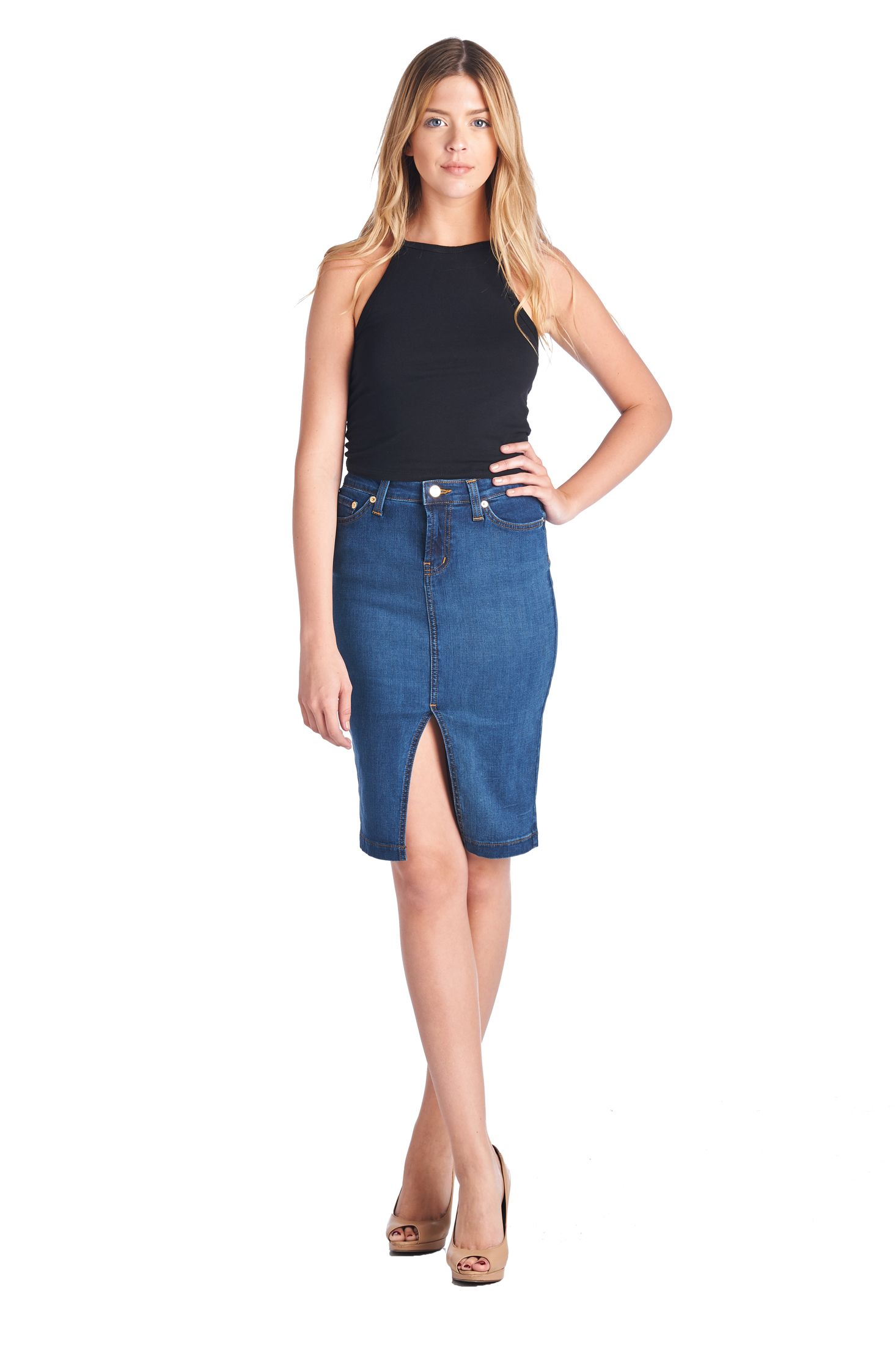 Parkers Jeans - Mid Length Slit Denim Skirt  #denim #jeans #skirt #premium #slit #spring #trends #fashion #lookbook #parkersjeans