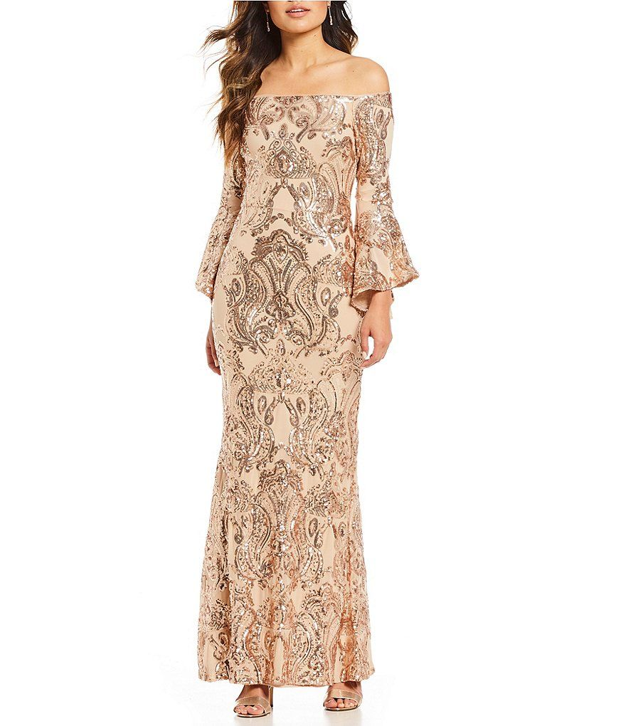 834a58e36e Color Champagne - Image 1 - Betsy   Adam Sequined Off-the-Shoulder Flutter  Sleeve Sequined Gown