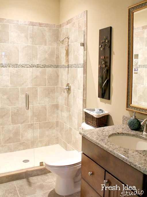 The Real Deal Months In Our House Tour Pinterest Bath Small - Guest bathroom tile ideas