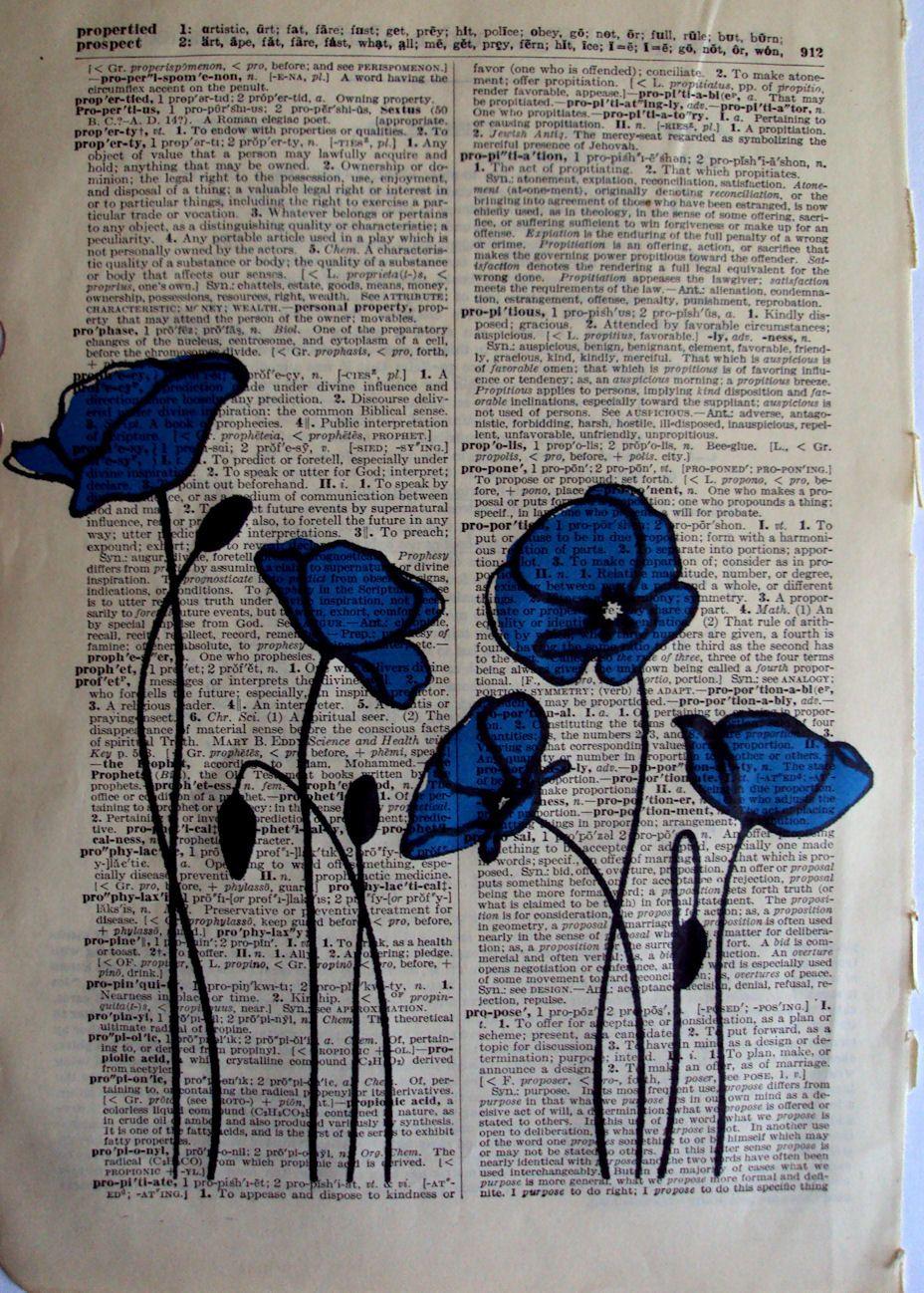 Blue Poppies Avec Images Art Page De Livre Livre D Art