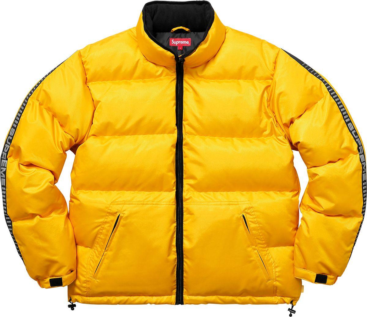 Supreme Reflective Sleeve Logo Puffy Jacket Yellow Puffer Jacket Puffy Jacket Jackets [ 1035 x 1200 Pixel ]
