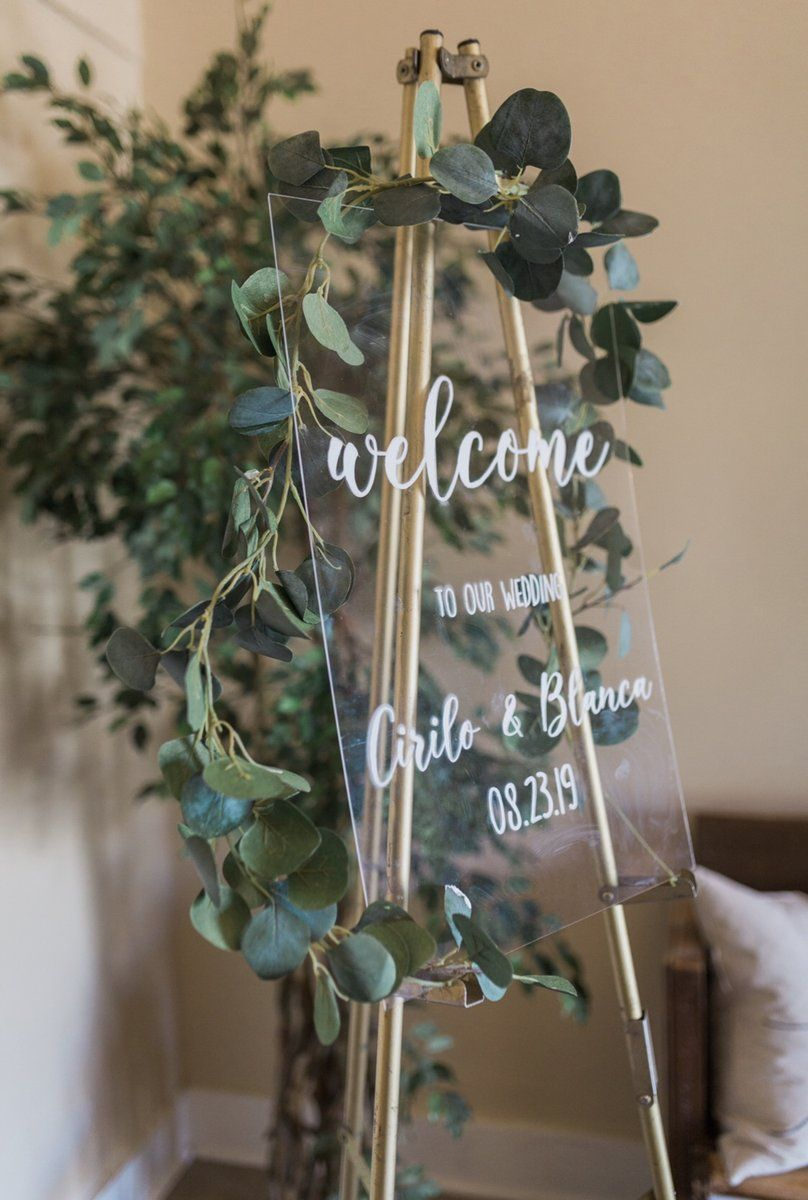 Clear Glass Look Acrylic Wedding Welcome Sign