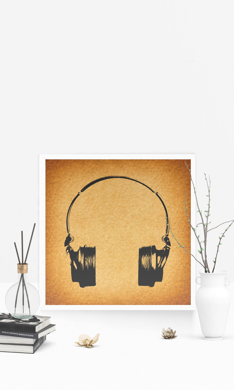 Headphones Print Vintage Music Illustration Wall Art Poster or Print ...