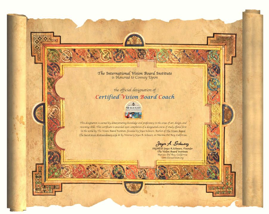 certificate our certified vision board coaches get after completing ...