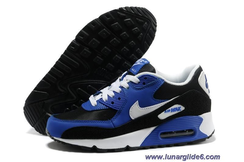 Cheap Nike Air Max 90 GS Black White Hyper Blue White Shoes