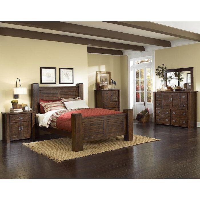 Hickory Point Trestlewood 4 Piece Queen Bedroom Set In Mesquite Pine Progressive Furniture