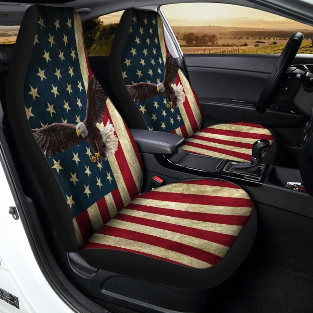 American Flag Red White And Blue Eagle Universal Fit Car Seat