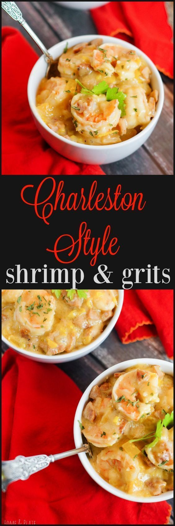 Charleston Style Shrimp & Grits | www.homeandplate.com | The shrimp is pink and tender, the course grits are creamy and cheesy and the heat from the andouille sausage will warm your belly. #seafoodrecipes #charlestoncheesedips