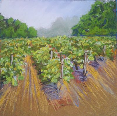 Vineyard pastels painting. Landscape pastel painting.  soft pastles painting plein air painting http://veroniquebec.com  Poussières de pastels