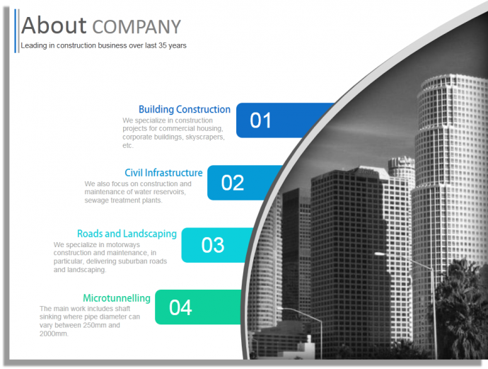 Construction company profile powerpoint template design for Remodeling companies
