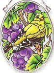 Amia Hand Painted Glass Suncatcher with Grapevine Goldfinch Design, 3-1/4-Inch by 4-1/4-Inch Oval by Amia. $11.00. Includes chain. Handpainted glass. Comes boxed, makes for a great gift. Amia glass is a top selling line of handpainted glass decor. Known for tying in rich colors and excellent designs, Amia has a full line of handpainted glass pieces to satisfy your decor needs. Items in the line range from suncatchers, window decor panels, vases, votives and much more.