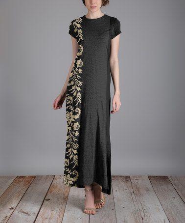 Look at this #zulilyfind! Black & Beige Floral Side-Contrast Cap-Sleeve Dress - Plus #zulilyfinds