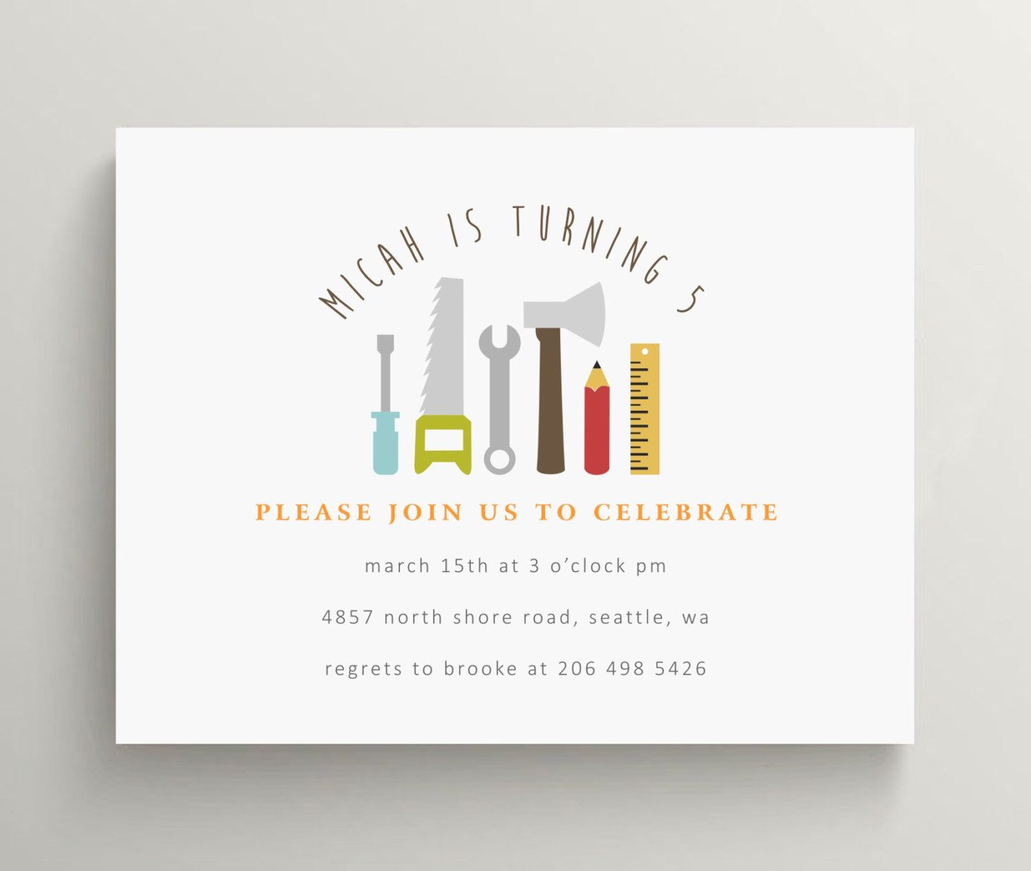 Construction tools invitation, construction invitation, construction ...