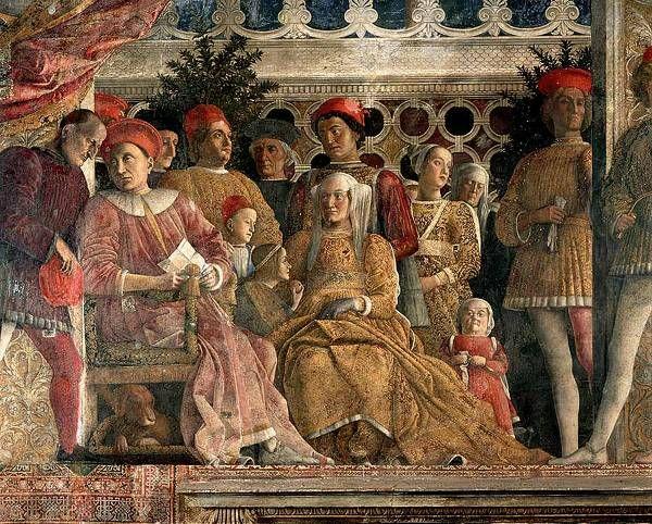 Andrea Mantegna stanza degli sposi, parete Ludovico III Gonzaga e la sua famiglia ricevono la notizia della nomina a cardinale del figlio Francesco