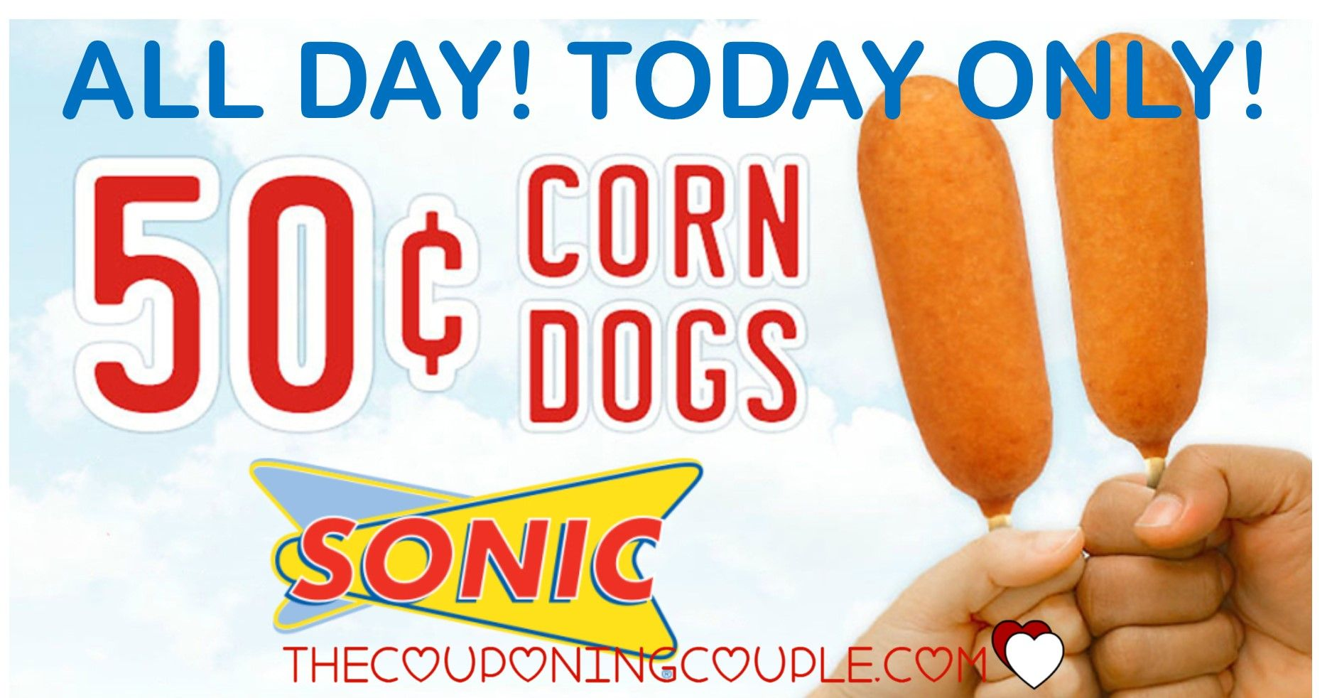 WOOHOO! 50¢ Corn Dogs at Sonic Today! Cheap lunch, dinner or snack! The kids will love you! February 8th only!  Click the link below to get all of the details ► http://www.thecouponingcouple.com/0-50-corn-dogs-at-sonic-today-only/ #Coupons #Couponing #CouponCommunity  Visit us at http://www.thecouponingcouple.com for more great posts!