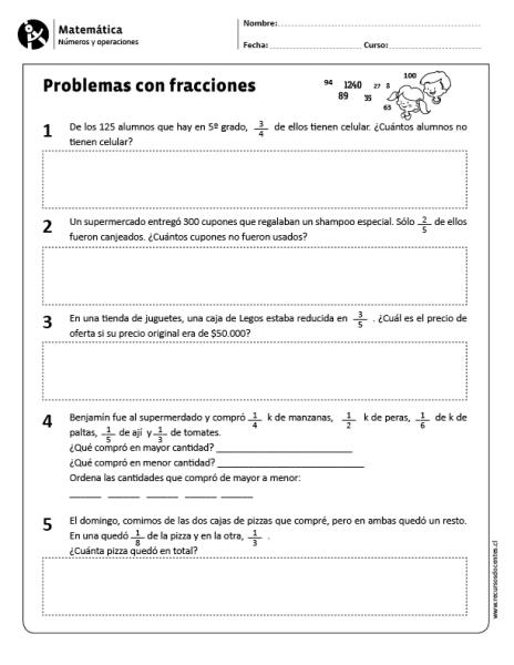 Problemas Con Fracciones Ejercicios De Fracciones Problemas De Fracciones Fracciones