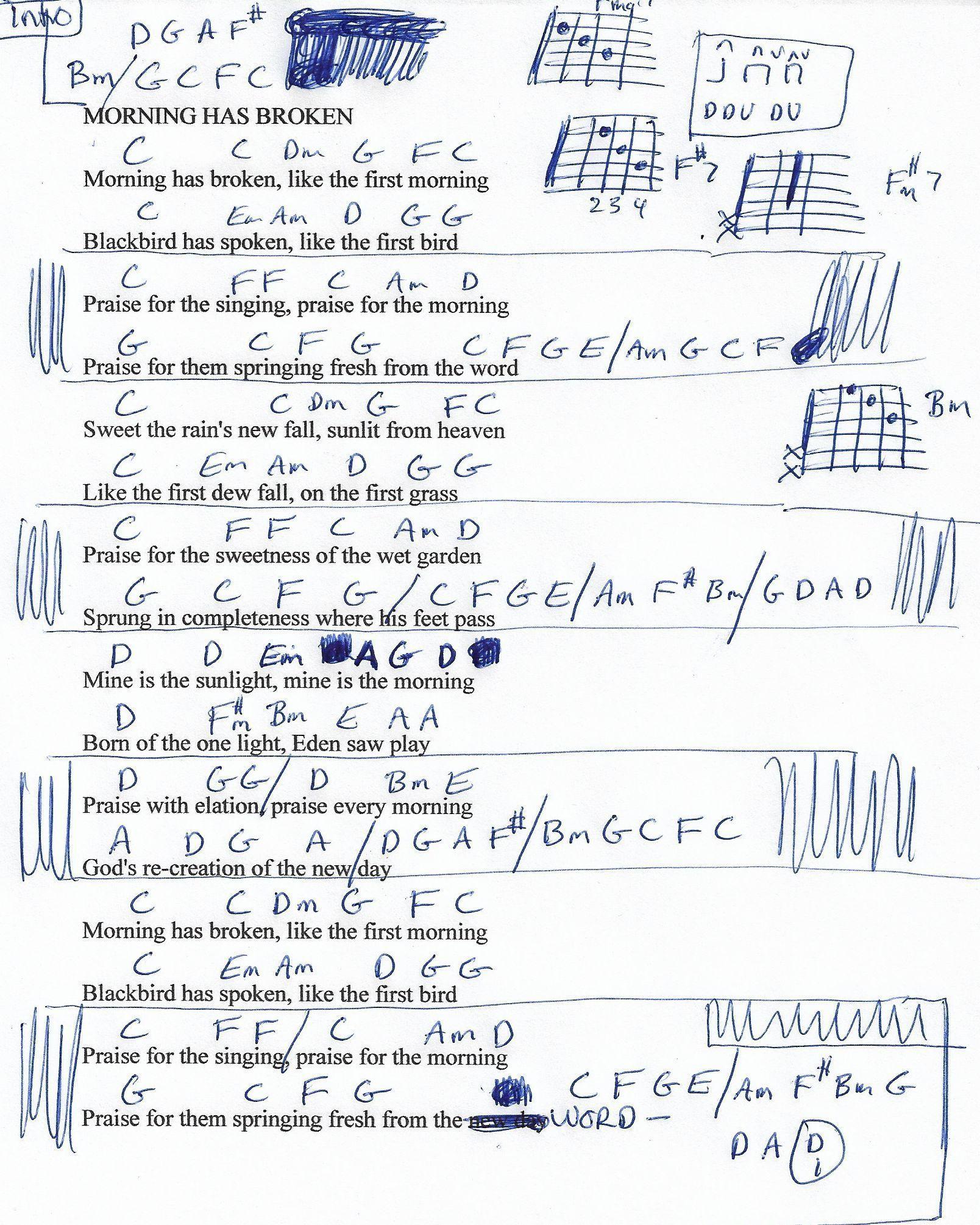 Morning Has Broken Cat Stevens Guitar Chord Chart Lyrics Music