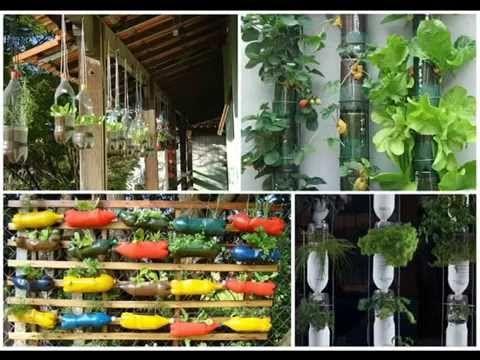 40 ideas de reciclaje para crear un jard n vertical - Huerto vertical casero ...