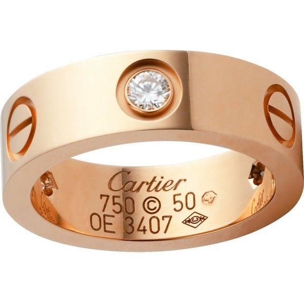 CARTIER LOVE 18ct pink-gold and diamond ring ($3,650) ❤ liked on Polyvore featuring jewelry, rings, stud ring, red gold ring, rose gold jewelry, cartier jewelry and pink gold diamond rings