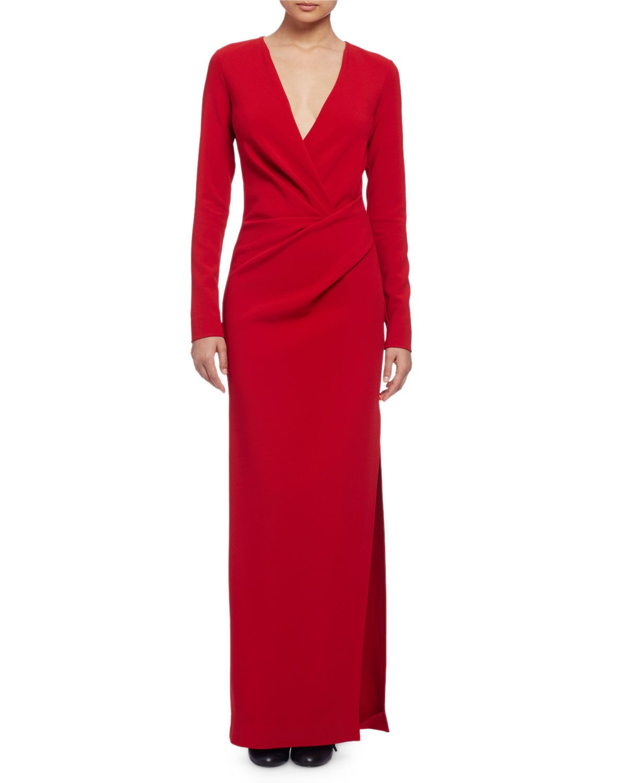 Lanvin longsleeve column gown red in love wear pinterest