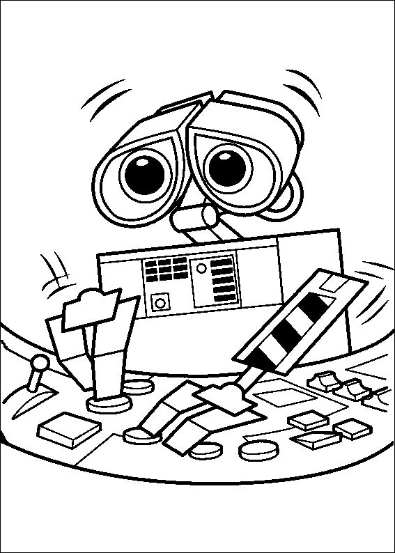 Wall E Experiment Coloring Pages For Kids Printable Robots
