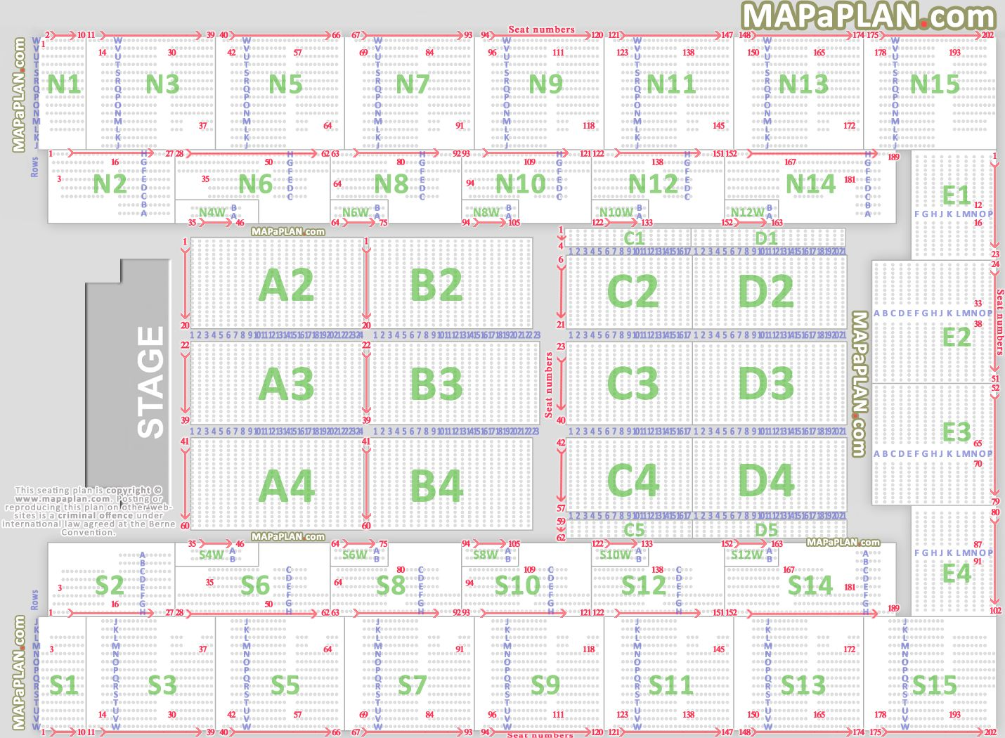 Detailed Seat Numbers Chart With Rows And Blocks Layout
