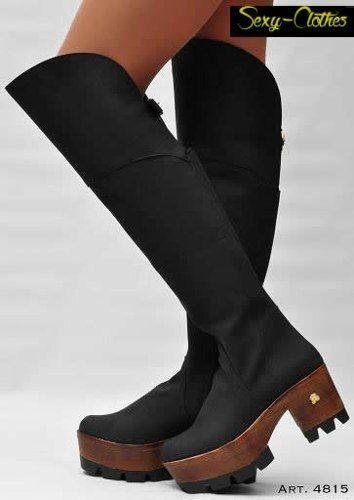 5c70f01d botas bucaneras caña alta con plataforma de madera | shoes | Zapatos ...