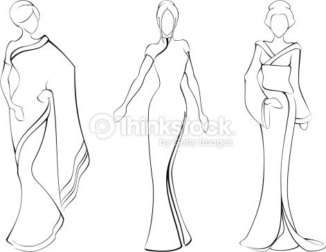Lastest Black Outline Woman Little Clothing Women Dress
