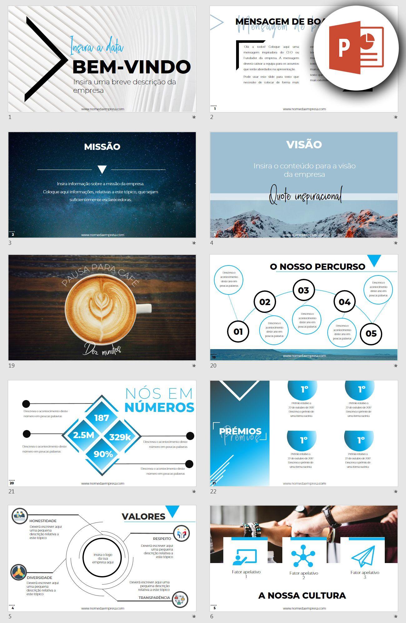 Template Powerpoint Para Empresas 28 Diapositivos Editaveis Com