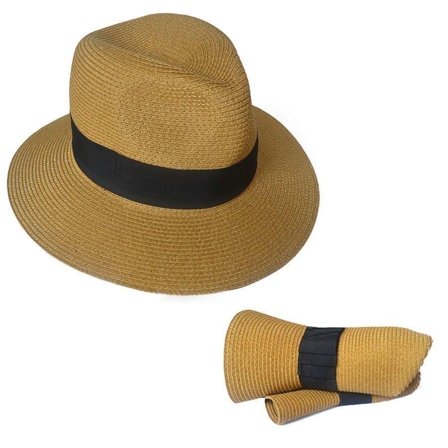 Men Straw Trilby Hat Fedora Packable Wedding Hat Men Panama Fedora Hat in  Clothing 019ff4c99d7