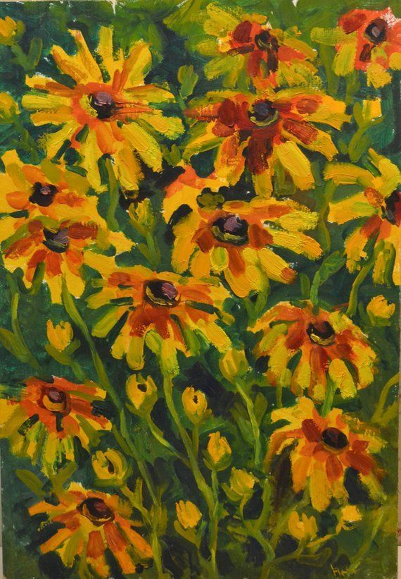 yellow flowers oil painting field bouquet floral original painting art sunflowers bright mini paint flowers wall gift for her housewarming yellow flowers oil painting fie...