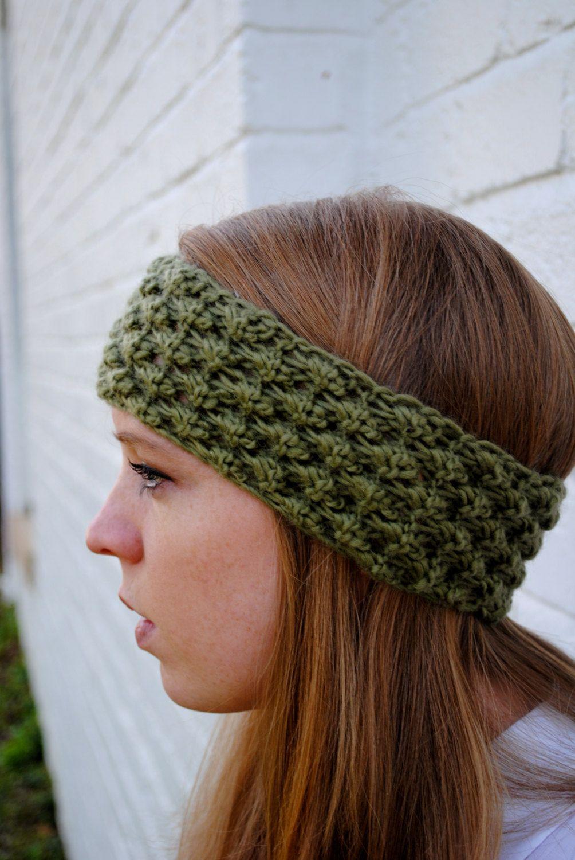 Green Wool Knit Headband Ear Warmer | Czapki,szale,poncza,rękawiczki ...