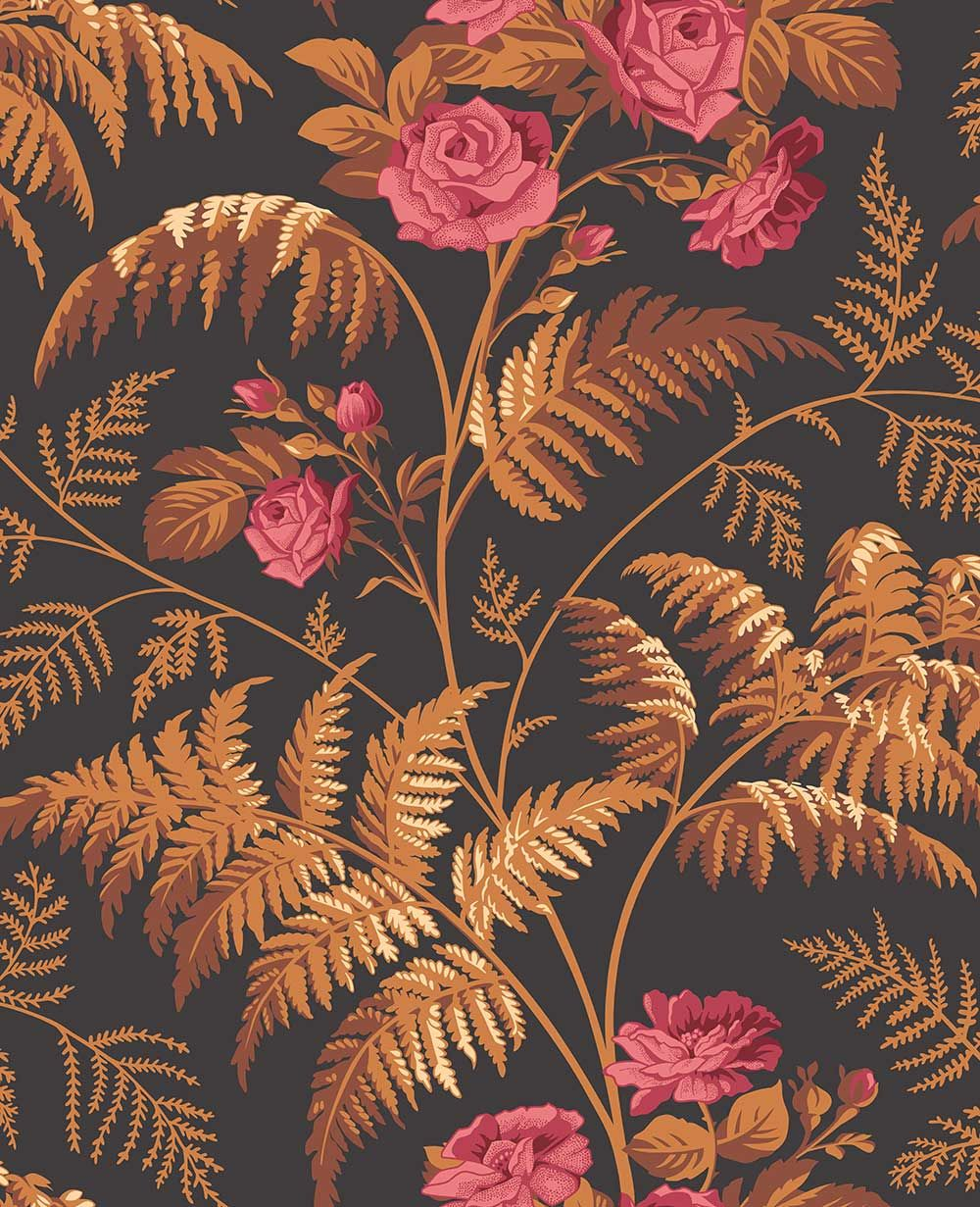 Rose by Cole & Son Cerise / Burnt Orange Wallpaper
