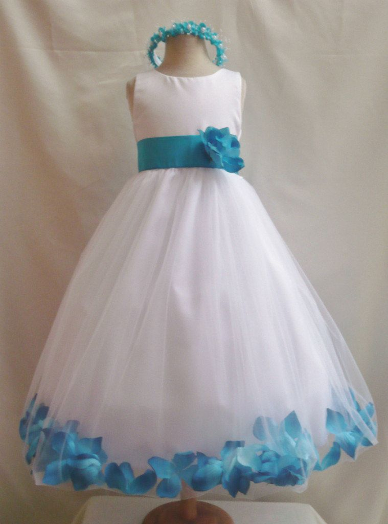 79cbcf00d83 Flower Girl Dress WHITE Turquoise PETAL Wedding by NollaCollection ...