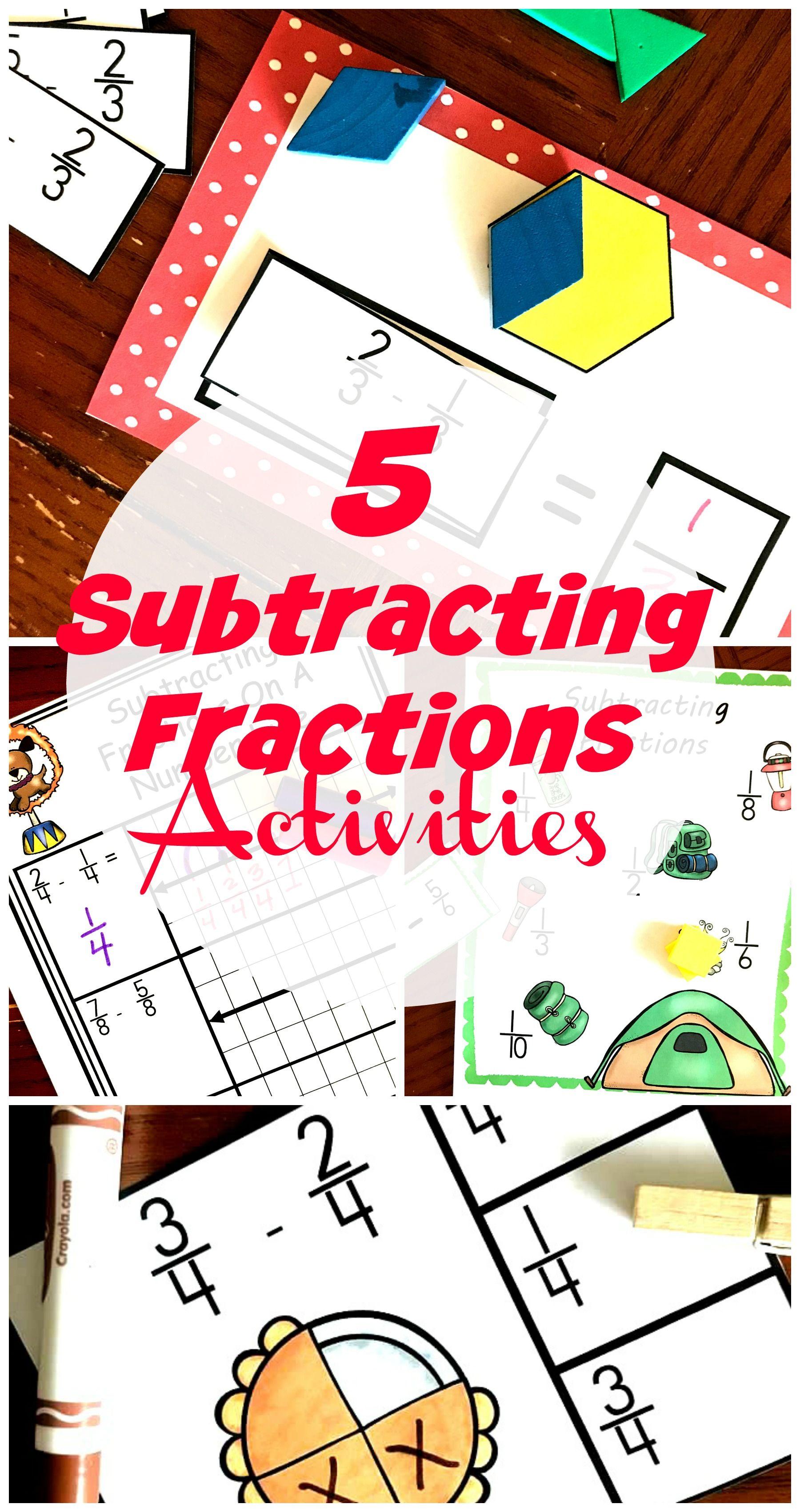 5 Subtracting Fractions With Common Denominators Activites