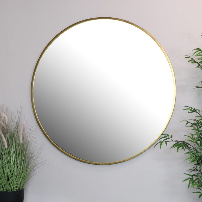 Extra Large Round Gold Wall Mirror, Extra Large Round Mirror 150cm