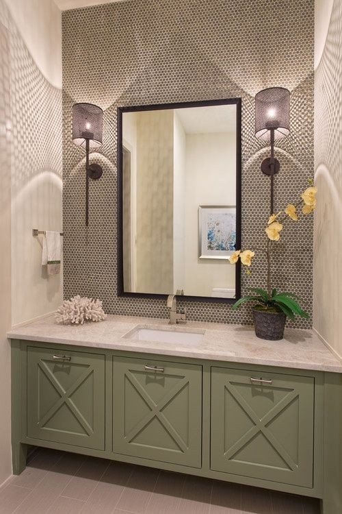Contemporary Powder Room with Undermount sink, Flat panel cabinets ...
