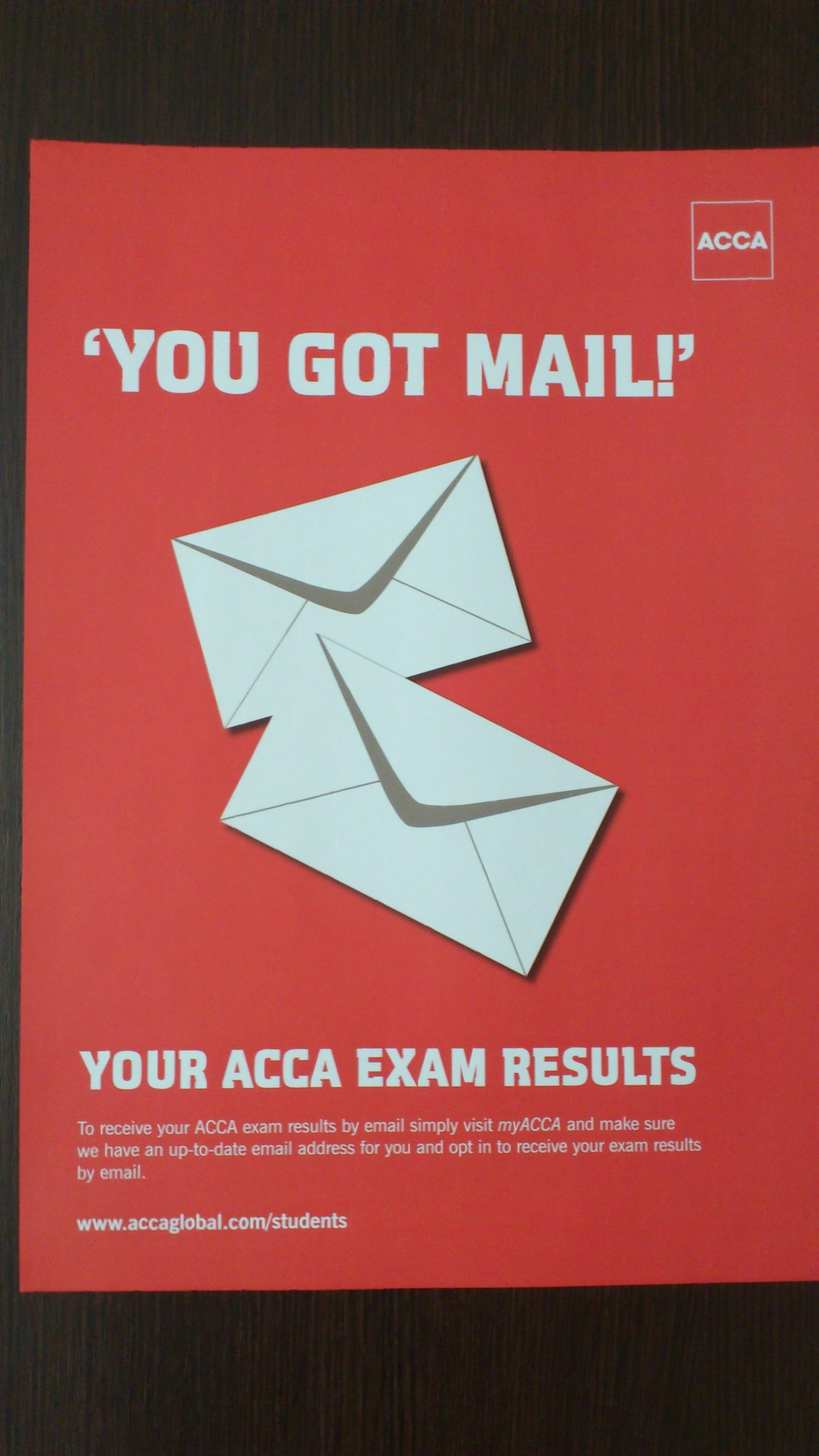 It seems the acca do realise that students are too stressed for the it seems the acca do realise that students are too stressed for the results of their exams they provide the exams results very fast through email fandeluxe Images