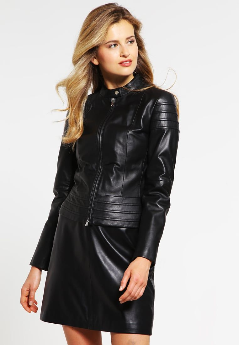 Veste en cuir noir femme zalando