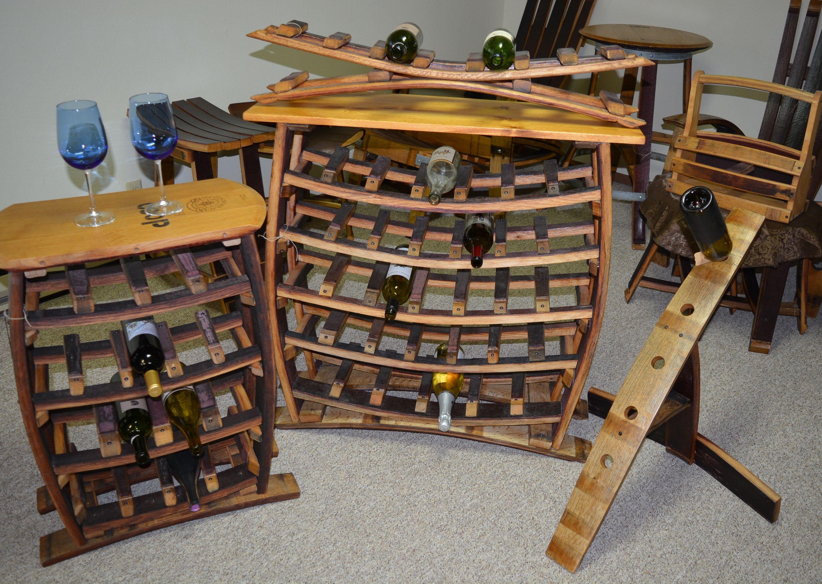 Idaho Creations Wine Barrel Furniture. Wine bottle racks.