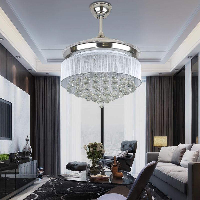 LED Modern Ceiling Fan Crystal Remote Control With Lights Invisible Folding Fans Lamp Dining Room